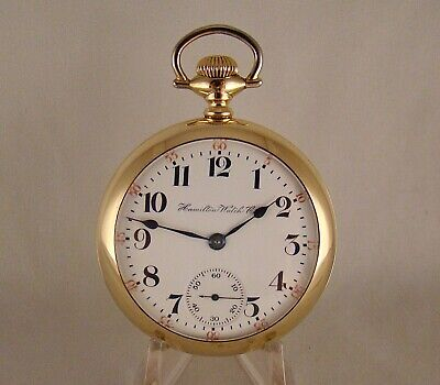 """109 YEARS OLD HAMILTON """"940"""" 21j 10k GOLD FILLED OPEN FACE 18s RR POCKET WATCH"""