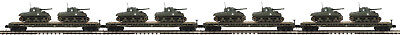 MTH #20-92150 U.S ARMY FLATCAR WITH 2 SHERMAN TANKS 4 PACK