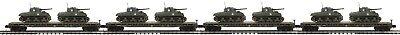 20-92151 4-Car Set U.S. Army Flat Cars w/(2) Sherman Tanks - MTH Premier