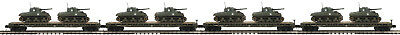 MTH #20-92151 U.S ARMY FLATCAR WITH 2 SHERMAN TANKS 4 PACK