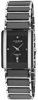 Akribos XXIV AK521BK Rectangular Ceramic Quartz Bracelet Mens Watch