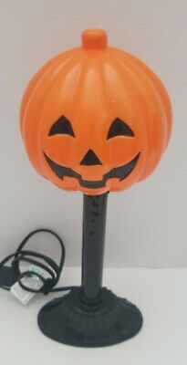 "Halloween Plactic Blow Mold JOL Pumpkin Candle Stick Light Ups 12"" Vintage"