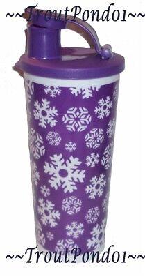 Tupperware 16 Oz Tall Iced Tea Tumbler Purple Snowflake Flip Top Pour Spout Seal 16 Oz Tall Iced Tea