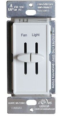 Ceiling Fan Switch Dual Slide Variable Speed Control & Light Dimmer Combo White
