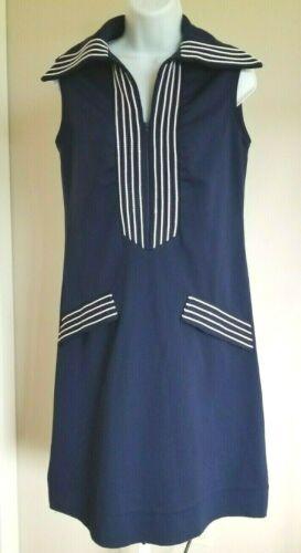 vtg retro navy BLUE WHITE POLYESTER sleeveless SHEATH dress NAUTICAL Sailor S M