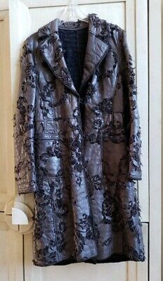 SYLVIE SCHIMMEL PARIS HANDMADE COUTURE LAMBSKIN LEATHER BURN OUT TRENCH COAT 42