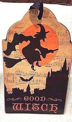 Good Witch Flying Moon Bat Halloween Wood Plaque Retro 6