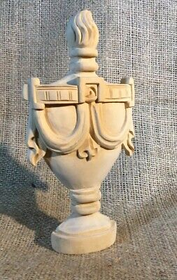 - U.S. MADE HAND CARVED WOOD 6.5 INCH GREEK URN MOLDING ACCENT DETAILED LT WOOD