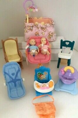 Lot Fisher Price Loving Family TWINS NURSERY Dollhouse DOLLS BABY FURNITURE Crib