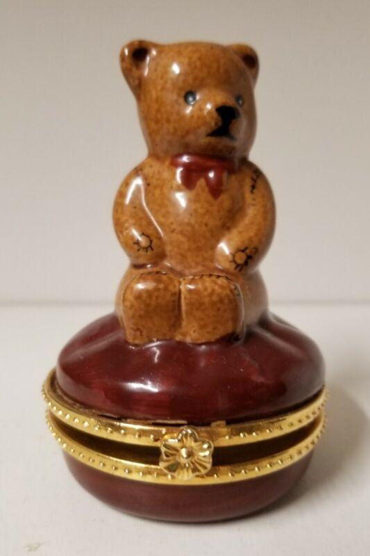 Porcelain Hinged Trinket Box Teddy Bear on Pillow