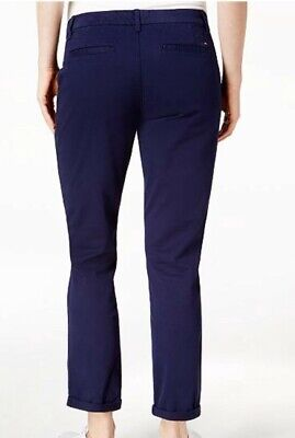 Tommy Hilfiger Women's Cuffed Chino Straight Leg Pants Navy NWT