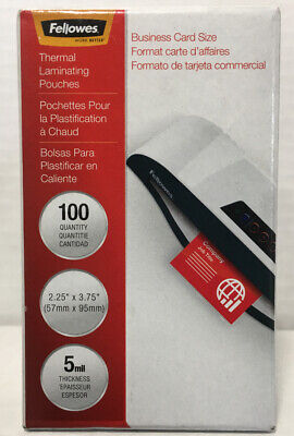 Fellowes Laminating Pouches Thermal Business Card 5 Mil 100 Pack 52001 New Box