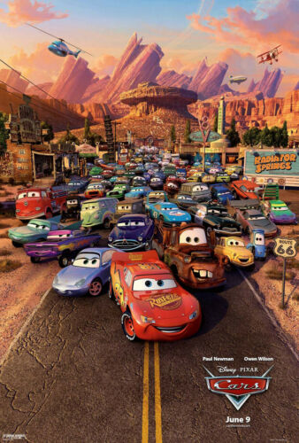 Cars Movie Poster Double Sided Original Final 27x40 Owen Wilson Disney