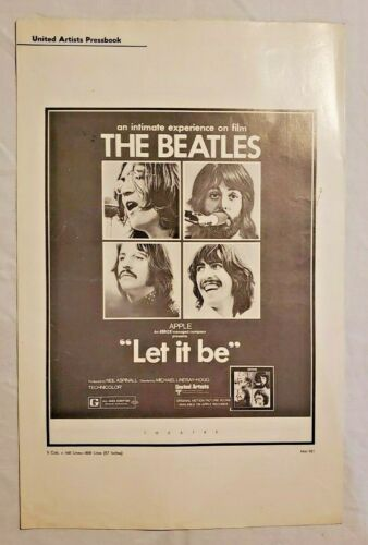 "1970 THE BEATLES ""LET IT BE"" pressbook vintage ORIGINAL VERY HARD TO FIND"