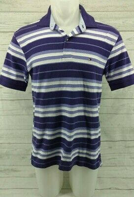 Tommy Hilfiger Men's Polo Shirt Size Medium Short Sleeves Purple White Stripes