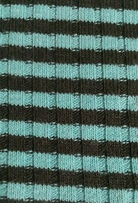 TURQUOISE AND BROWN STRIPED STRETCH SWEATER KNIT FABRIC-SOLD BY THE METER