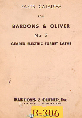 Bardons Oliver No. 2 Geared Electric Turret Lathe Parts List Manual 1948