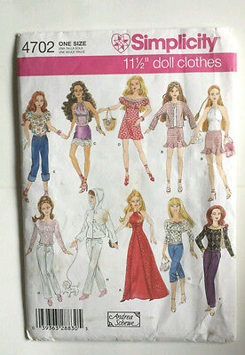 "Simplicity 4702 UNCUT Sewing Pattern for Barbie 11 1/2"" Doll Dress Halter Jeans"
