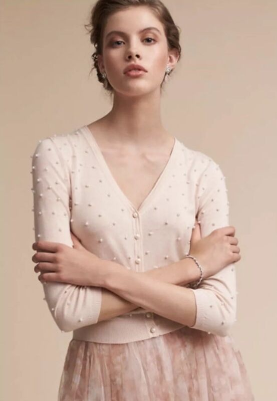 NEW $190 BHLDN Jenny Yoo Perla Beaded Cardigan Sweater Size XS Pink