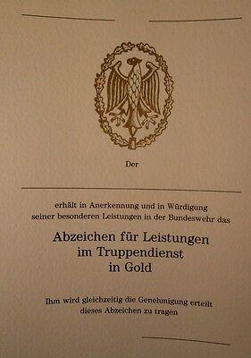 Bundeswehr - Urkunde für das Leistungsabzeichen in GOLD