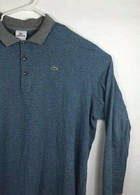 Lacoste Mens Long Sleeve Collared Shirt W Three Buttons Size 9 4XL Blue And Gray