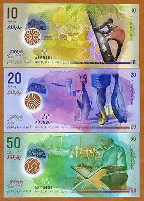 SET Maldives, 10;20;50 Rufiyaa, 2015 (2016), Polymer UNC > New Design