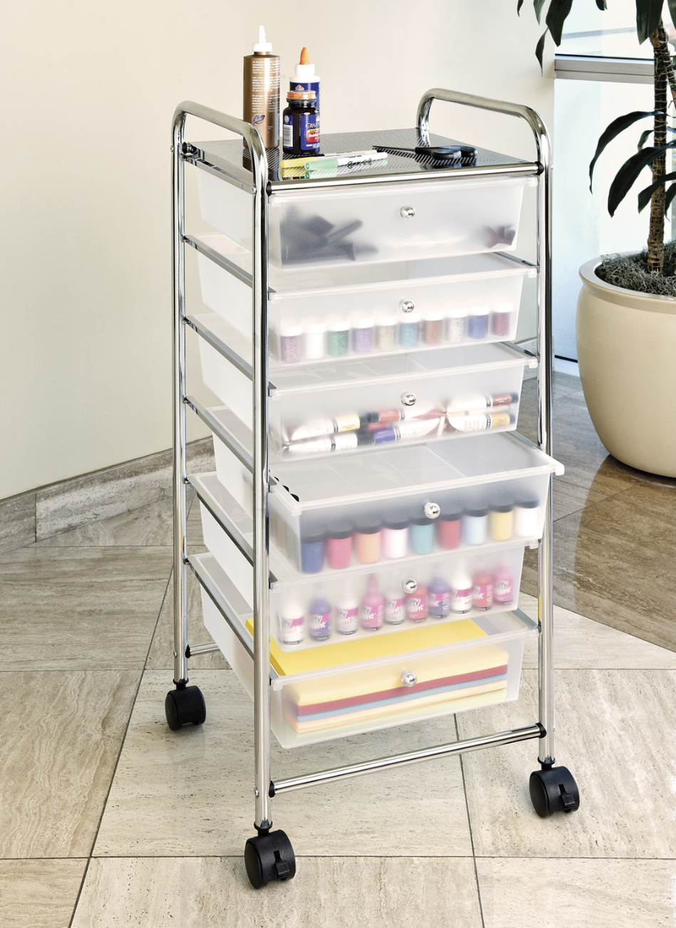 SEVILLE CLASSICS LARGE 6-DRAWER STORAGE BIN ORGANIZER CART, WHITE Home & Garden