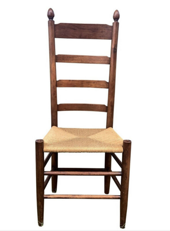 Antique Ladder Back Dining Chair with Rush Seat  Farmhouse Seating