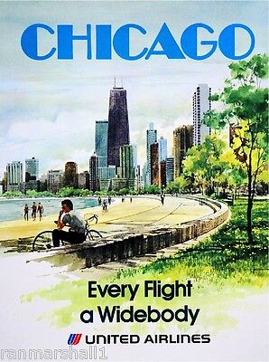 Chicago Illinois United States of America Vintage Travel Advertisement Poster