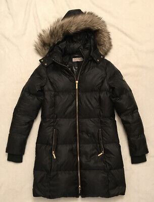Michael Kors Down Puffer Coat Faux Fur Hood Long Parka Jacket Brown Size Small