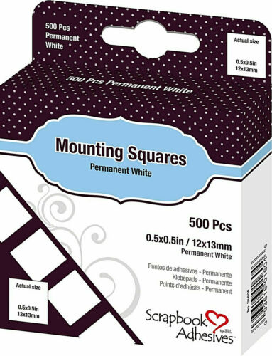 """Scrapbook Adhesives by 3L Mounting Squares White 1/2"""" 500/box permanent New!"""