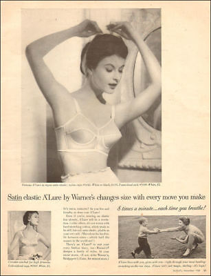 1958 vintage brassiere AD WARNER'S A'Lure Bra , Satin-elastic 092218