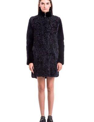 Manzoni24 Jacket Parka Fur Coat Italy Black Sz S-M