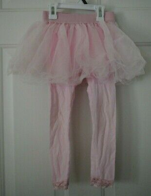 Girls Pink Leggings with Attached Pink Tulle Tutu Skirt Size 4  - Leggings With Attached Skirt