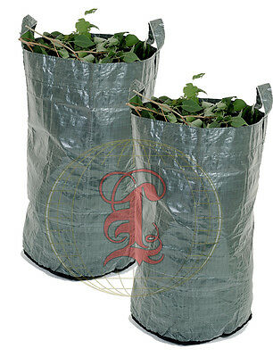 2 x Heavy Duty Green Woven Garden Waste Refuse Sack Bag 150 litres
