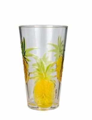 Pineapple Drinking Glasses (Plastic Drinking Glasses Set of 1 BPA-free Pineapple Pattern 21 Ounce)