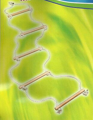 Strickleiter mit 5 Holzsprossen Seilleiter Kletterleiter Kinderleiter 190 cm