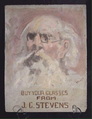 Antique Eye Doctor Optometry Oil Painting On Slate 1909 Sacramento Advertising