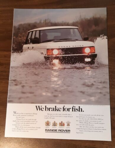 1988 1 PAGE ADVERTISEMENT Range Rover - We Brake For Fish AD