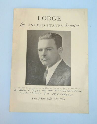 1936 Henry Cabot Lodge Jr for Massachusetts Senator Autographed Campaign Booklet