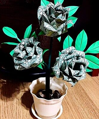 Graduation Money Tree (money Origami Rose bush tree real dollar bills graduation wedding valentine)