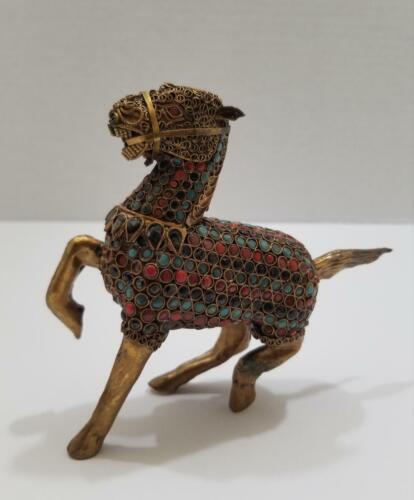 Vintage Tibetan Multiple Stones & Brass Filigree Horse Figurine