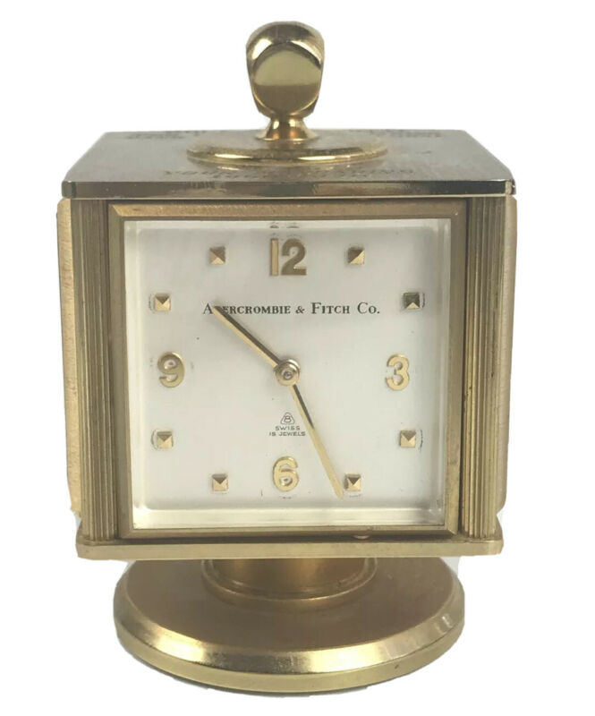VINTAGE ABERCROMBIE & FITCH Co. SWISS DESK CLOCK WEATHER STATION Engraved