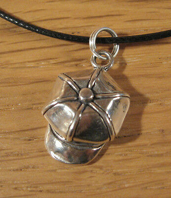 Beret Hat Charm Pendant Necklace .925 Sterling Silver Cap Usa Made Mens Jewelry
