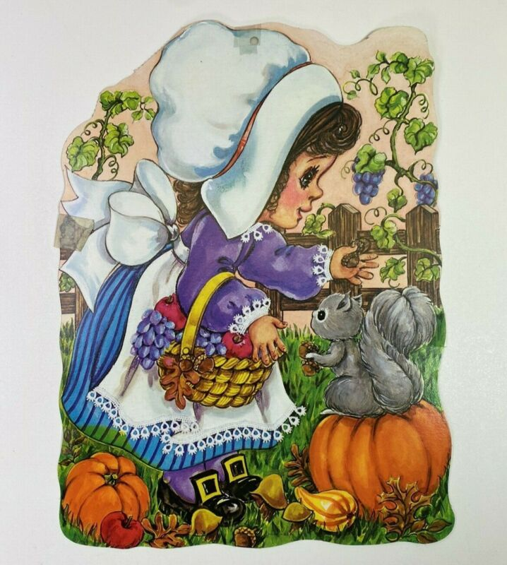 "Thanksgiving Vintage Cardboard Paper Die Cut Pilgrim Girl Cut Out 14"" x 11"""