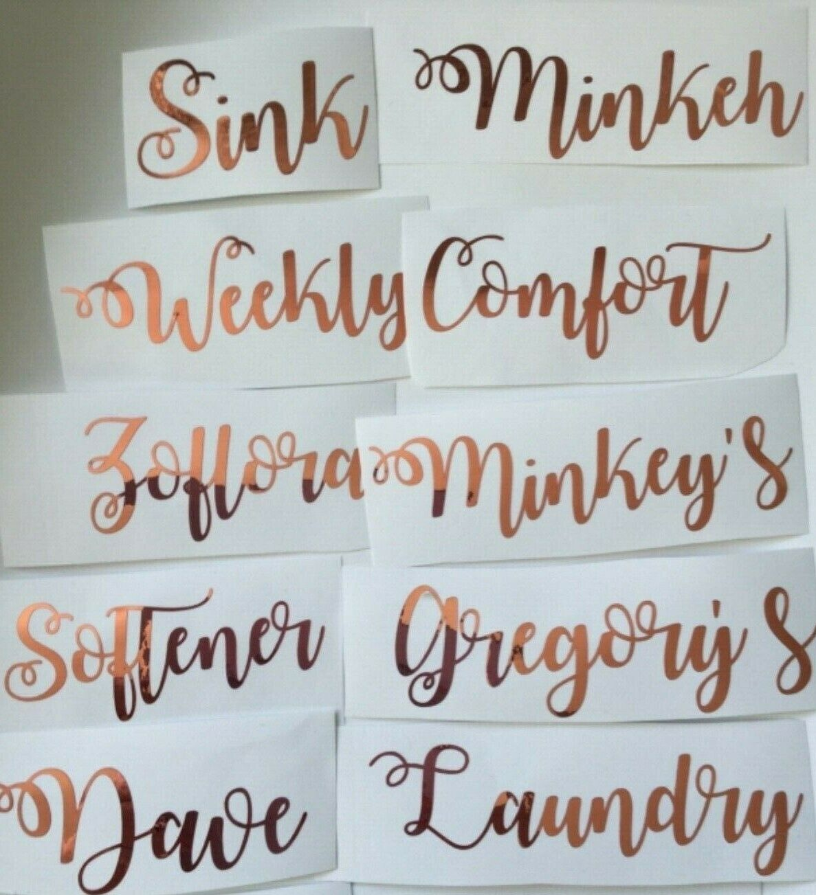 Personalised Mrs Hinch /Cleaning/Laundry Vinyl Stickers Baskets Bottles