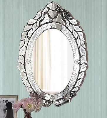 New Venetian Wall Mirror Oval Glass Bathroom Vanity French Shabby Chic - Horchow