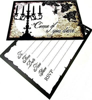 10 Gothic Invitation Card Envelope Party Style Vintage Halloween Themed Birthday