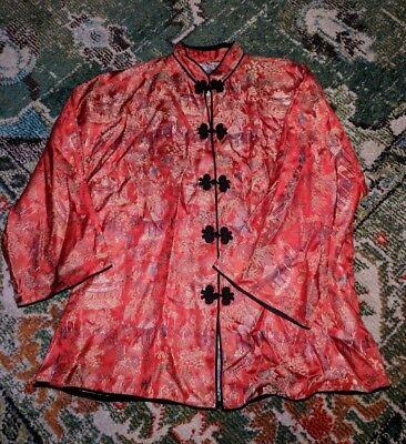 BEAUTIFUL VINTAGE RED SILK ASIAN EMBROIDERED COAT LADIES JAPAN SHORT KIMONO M L
