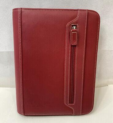 Foray Dark Red Faux Leather Full Zip Around 3-ring Planner Organizer 8x10.5